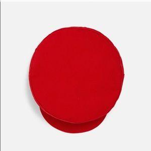 Zara Accessories - ZARA Red Buttoned Nautical Hat NWT S/M
